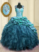 Artistic Teal Lace Up Sweetheart Beading and Ruffles and Pick Ups Ball Gown Prom Dress Organza and Taffeta Cap Sleeves Brush Train