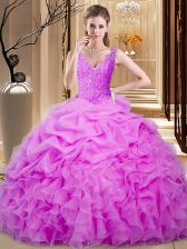 Enchanting Lilac Ball Gowns Sweetheart Sleeveless Organza Floor Length Backless Lace and Ruffles and Pick Ups Quinceanera Dress