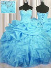 Best Selling Sweetheart Sleeveless Organza Quince Ball Gowns Beading and Ruffles and Ruching and Pick Ups Lace Up