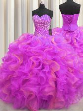 Multi-color Ball Gowns Organza Sweetheart Sleeveless Beading and Ruffles Floor Length Lace Up Sweet 16 Quinceanera Dress