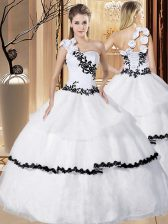Dynamic Ball Gowns 15th Birthday Dress White One Shoulder Organza Sleeveless Floor Length Lace Up