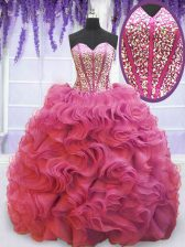 Shining Pink Ball Gowns Sweetheart Sleeveless Organza Sweep Train Lace Up Beading and Ruffles Sweet 16 Dress
