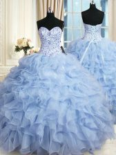 Modern Organza Sweetheart Sleeveless Lace Up Beading and Ruffles Ball Gown Prom Dress in Light Blue
