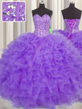 Inexpensive Visible Boning Floor Length Lavender Sweet 16 Quinceanera Dress Organza Sleeveless Lace and Ruffles and Sashes ribbons