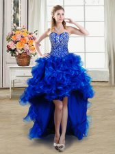 High Low Lace Up Prom Evening Gown Royal Blue for Prom and Party with Beading and Ruffles