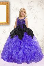 Sweet Black and Purple Sleeveless Beading and Ruffles Floor Length Pageant Gowns For Girls
