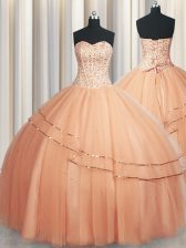 Luxurious Visible Boning Really Puffy Sleeveless Floor Length Beading and Ruching Lace Up 15th Birthday Dress with Peach