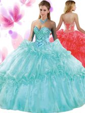Floor Length Lace Up 15 Quinceanera Dress Aqua Blue for Military Ball and Sweet 16 and Quinceanera with Pick Ups