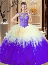 Exquisite Multi-color Tulle Backless High-neck Sleeveless Floor Length Quinceanera Gowns Beading and Ruffles