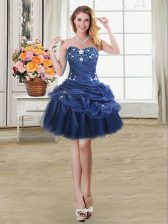 Mini Length Lace Up Prom Gown Navy Blue for Prom and Party with Beading and Appliques and Pick Ups