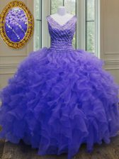 V-neck Sleeveless Zipper 15 Quinceanera Dress Purple Organza