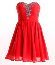 Fabulous Red Empire Beading Prom Dresses Lace Up Chiffon Sleeveless Mini Length