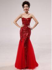 Mermaid Red Zipper Prom Dresses Sequins Sleeveless Floor Length