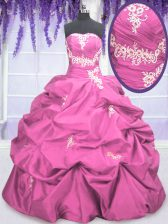Floor Length Rose Pink Quince Ball Gowns Taffeta Sleeveless Appliques and Pick Ups