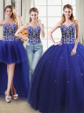 Trendy Four Piece Ball Gowns Quinceanera Dress Royal Blue Sweetheart Tulle Sleeveless Floor Length Lace Up