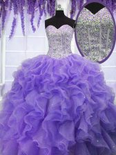 Simple Ruffles and Sequins Quinceanera Dresses Lavender Lace Up Sleeveless Floor Length