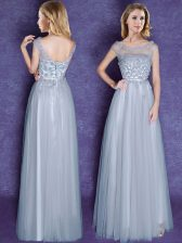 Scoop Grey Cap Sleeves Floor Length Appliques and Bowknot Lace Up Quinceanera Court of Honor Dress