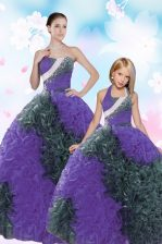 Extravagant Multi-color Sweetheart Lace Up Sequins and Pick Ups Quinceanera Gowns Sleeveless