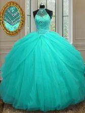 Custom Designed Halter Top Aqua Blue Tulle Lace Up 15 Quinceanera Dress Sleeveless Floor Length Beading