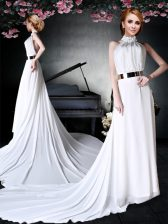 Halter Top White Chiffon Backless Prom Gown Sleeveless With Train Court Train Appliques and Belt