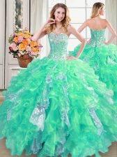 Floor Length Turquoise Quinceanera Gown Organza Sleeveless Beading and Ruffles and Sequins