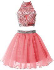 Nice Sleeveless Mini Length Beading Zipper Evening Dress with Watermelon Red