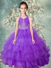 Lavender Little Girl Pageant Gowns Party and Wedding Party with Beading and Ruffled Layers Halter Top Sleeveless Zipper