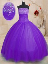 Unique Purple Tulle Lace Up Quinceanera Dress Sleeveless Floor Length Beading