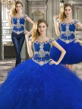 Beauteous Three Piece Off the Shoulder Beading and Ruffles Sweet 16 Quinceanera Dress Royal Blue Lace Up Sleeveless Floor Length