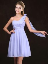 Chiffon One Shoulder Sleeveless Zipper Ruching and Hand Made Flower Court Dresses for Sweet 16 in Lavender
