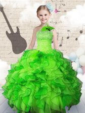 Ball Gowns Strapless Sleeveless Organza Floor Length Lace Up Beading and Ruffles Little Girl Pageant Gowns