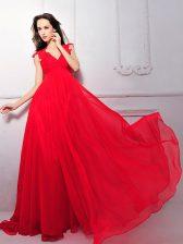 Cute Coral Red Empire Chiffon V-neck Sleeveless Lace Floor Length Zipper Evening Dress