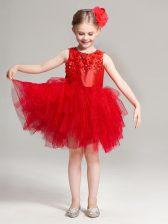Pretty Scoop Appliques and Ruffles Flower Girl Dresses Red Zipper Sleeveless Mini Length