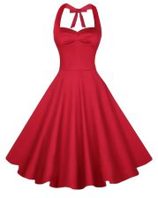 Latest Red Sleeveless Ruching Knee Length Prom Party Dress