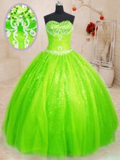Vintage Floor Length Lace Up Sweet 16 Quinceanera Dress for Military Ball and Sweet 16 and Quinceanera with Beading