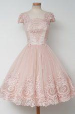 Elegant Baby Pink Cap Sleeves Lace Tea Length