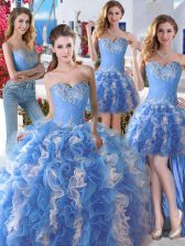 Custom Designed Four Piece Floor Length Blue And White Sweet 16 Quinceanera Dress Sweetheart Sleeveless Lace Up