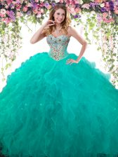 Lovely Ball Gowns 15th Birthday Dress Turquoise Sweetheart Tulle Sleeveless Floor Length Lace Up