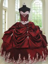 Pick Ups Floor Length Wine Red Quinceanera Gown Sweetheart Sleeveless Lace Up