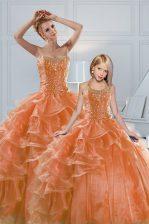 High Class Orange Organza Lace Up Sweetheart Sleeveless 15th Birthday Dress Beading and Ruffled Layers