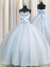 Spaghetti Straps Sleeveless Ball Gown Prom Dress Floor Length Beading and Ruching Light Blue Organza