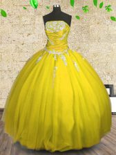 Strapless Sleeveless Lace Up Sweet 16 Dress Yellow Tulle