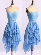 Sleeveless Chiffon Asymmetrical Zipper Prom Evening Gown in Blue with Beading and Ruffles