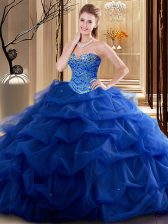 Ideal Royal Blue Sleeveless Tulle Lace Up Sweet 16 Dresses for Military Ball and Sweet 16 and Quinceanera