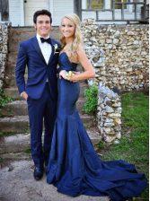 Mermaid Chiffon Sleeveless Prom Dress Sweep Train and Ruching