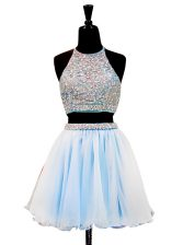 Charming Halter Top Light Blue Zipper Prom Dresses Beading Sleeveless Mini Length