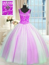 Ideal Multi-color V-neck Neckline Beading and Sequins Sweet 16 Quinceanera Dress Sleeveless Lace Up