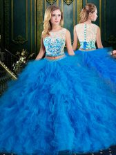 Tulle Scoop Sleeveless Zipper Lace and Ruffles Sweet 16 Dresses in Blue