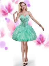 Captivating Turquoise Sleeveless Organza Lace Up Prom Dresses for Prom and Party