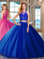 Tulle Scoop Sleeveless Zipper Appliques Quince Ball Gowns in Royal Blue
